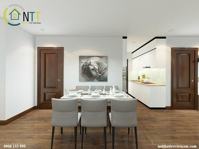 Phòng ăn cùng phòng bếp không gian mở