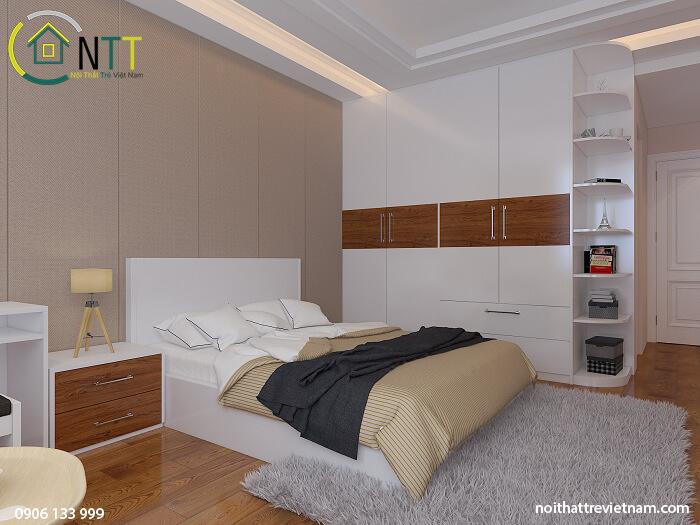 Tủ quần áo gỗ mdf sơn bệt trắng