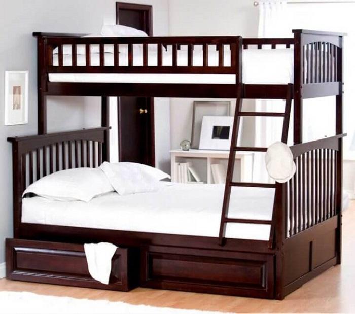 Mẫu 10 - Giường tầng người lớn bằng gỗ màu trầm