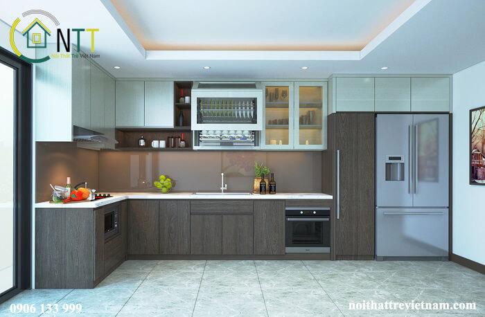 Phòng bếp sử dụng chất liệu gỗ công nghiệp, tủ bếp màu vân gỗ sang trọng
