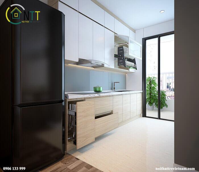 Vẫn là gam màu sáng được ưa chuộng trong thiết kế phòng bếp sang trọng