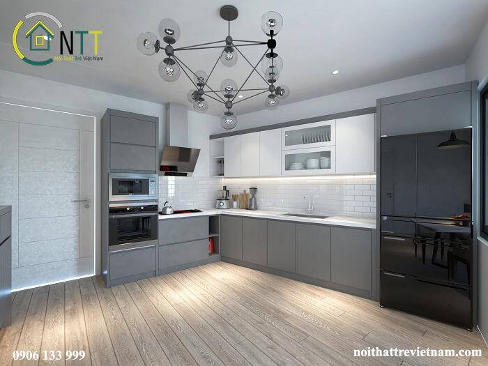 Gam màu trung tính cũng là xu hướng được sử dụng nhiều trong thiết kế phòng bếp hiện nay