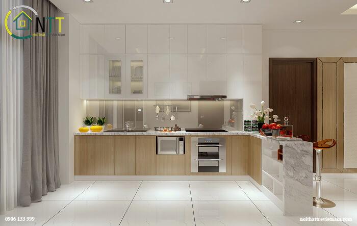 Mẫu phòng bếp chung cư hiện đại đơn giản