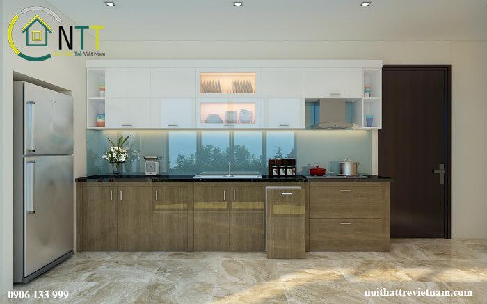 Nội thất phòng bếp nhà phố hiện đại sử dụng chất liệu gỗ công nghiệp