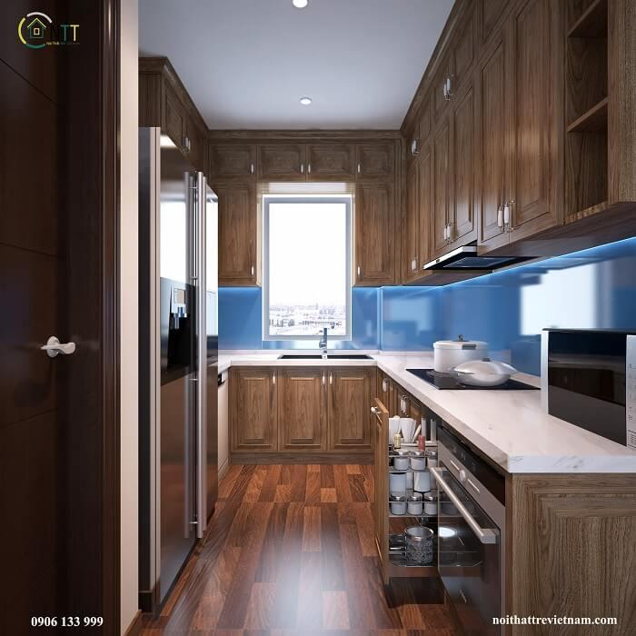 Mẫu nội thất phòng bếp nhà phố sử dụng gỗ sồi tự nhiên