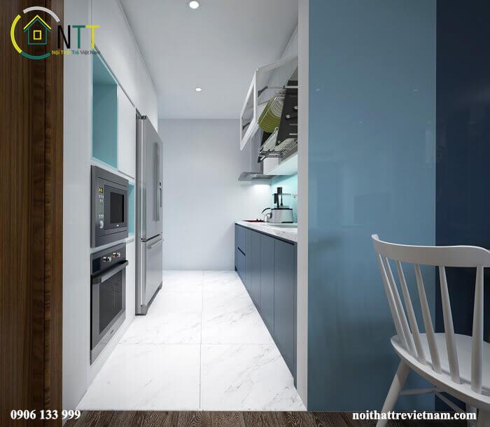 Một căn bếp nhỏ nhưng đầy đủ tiện nghi sử dụng gỗ công nghiệp phong cách hiện đại