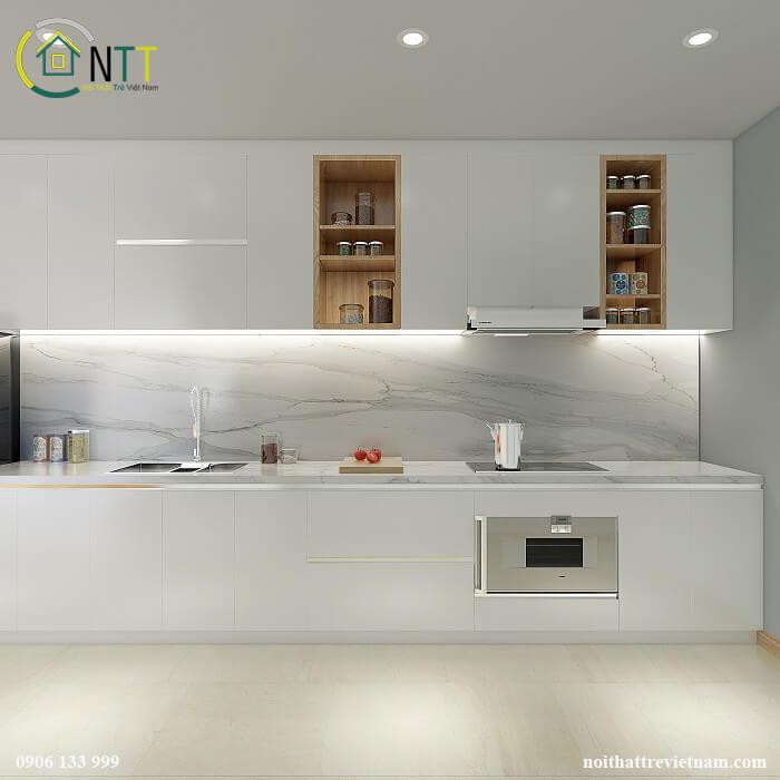 Tủ bếp màu trắng giúp không gian sáng, sạch và cơi nới về thị giác