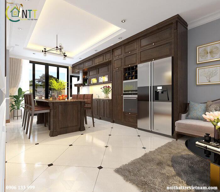 Hệ tủ bếp được thiết kế nhiều ngăn với kích thước khác nhau đáp ứng những công năng khác nhau, có các ngăn để rượu vang tiện dụng