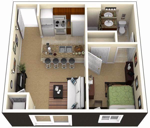 Mặt bằng bố trí căn hộ 50m2 1 phòng ngủ