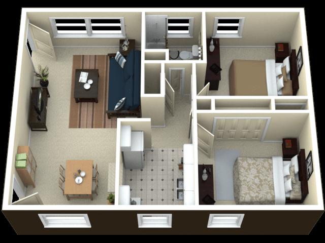 Mặt bằng bố trí căn hộ 50m2 2 phòng ngủ