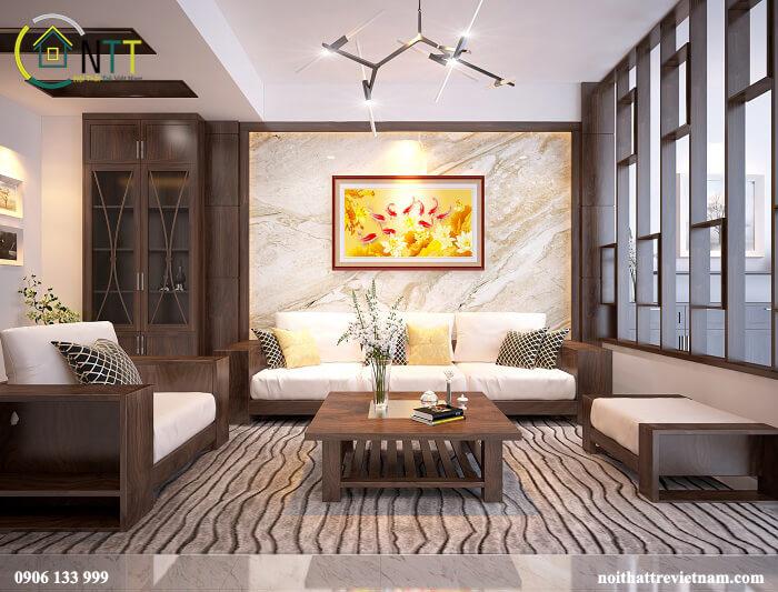 Một mẫu phòng khách nhà phố gỗ tự nhiên