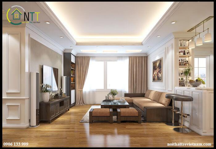 Một mẫu phòng khách gỗ tự nhiên ở Mipec Tower được Nội Thất Trẻ thiết kế