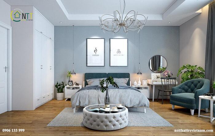 Chọn một màu sắc và tạo phong cách ấn tượng với chính màu sắc ấy trong căn phòng ngủ của 2 người