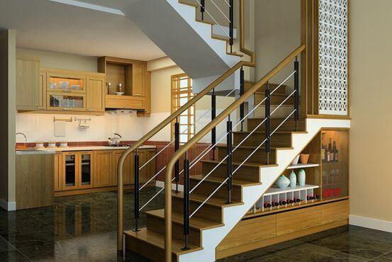 Cầu thang đổi chiều 180 độ - kiểu cầu thang chữ U cho nhà ống 5m