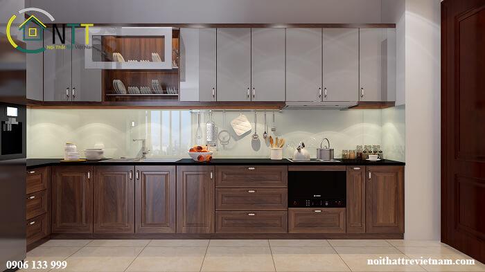 Tủ bếp gỗ óc chó tầng 1 - Tầng 2 gỗ Acrylic