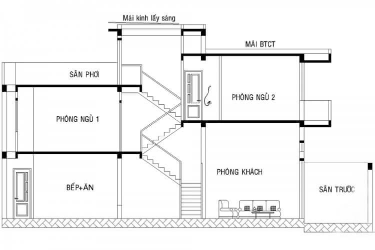 bản vẽ cầu thang nhà ống mẫu 5