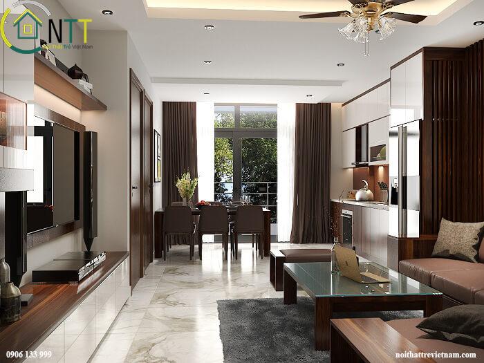 Một mẫu thiết kế thi công nội thất gỗ óc chó Hà Nội khác của Nội Thất Trẻ