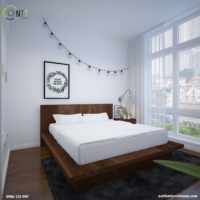 Thực hiện rất đơn giản, bạn chỉ cần gắn dải đèn led lên tường để trang trí cho phòng ngủ.