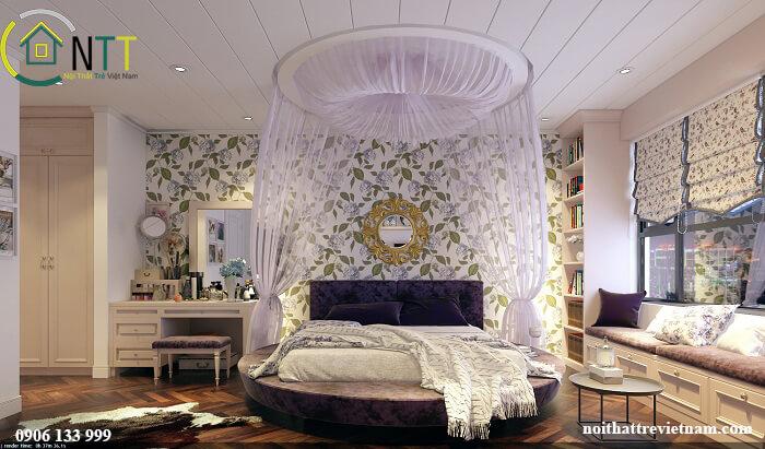 Phòng ngủ vintage sử dụng giấy dán tường trang trí