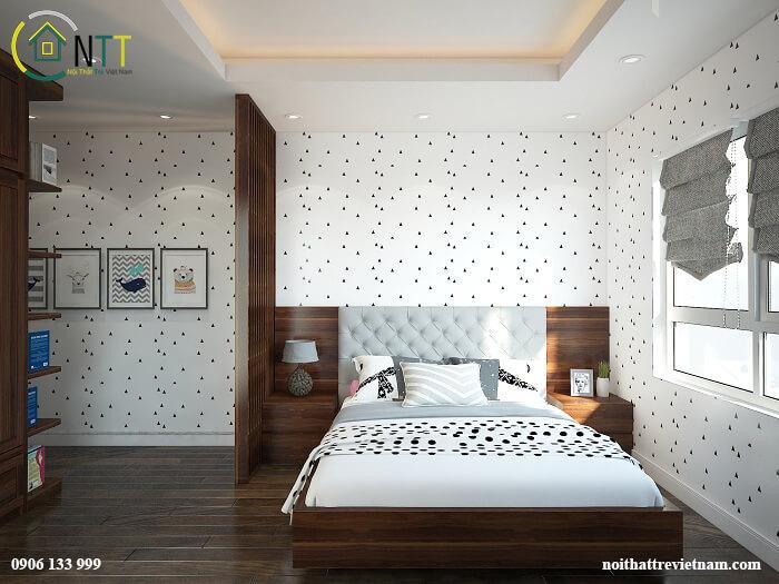 Trang trí phòng ngủ nhỏ tiết kiệm bằng giấy dán tường