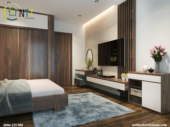 Nội thất phòng ngủ gỗ óc chó, giường, tủ áo gỗ óc chó, kệ tivi gỗ óc chó kết hợp công nghiệp