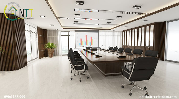 Phòng họp thiết kế tối giản tập chung vào công năng chính