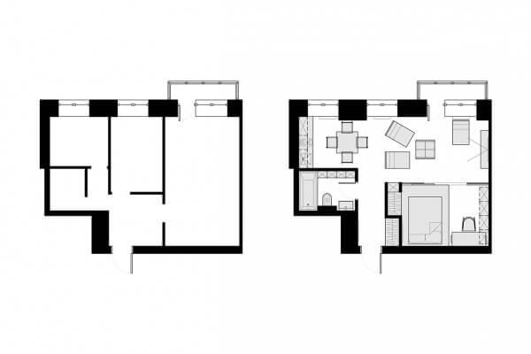 Mặt bằng mẫu 1 thiết kế căn hộ cho người nước ngoài thuê 40m2