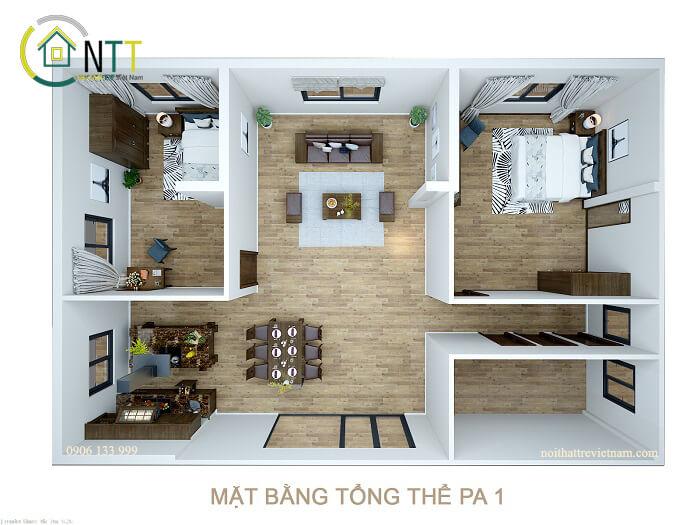 Mẫu 1 - Thiết kế nội thất chung cư 60m2