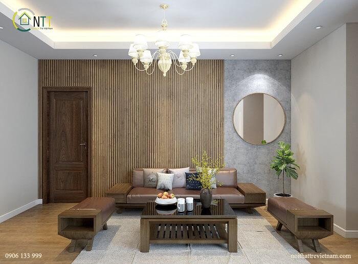 Mẫu 1 -  Nội thất phòng khách chung cư 60m2 hiện đại