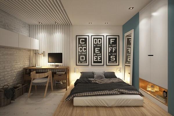 phòng ngủ với vách kính vẫn riêng biệt mà không bí bách