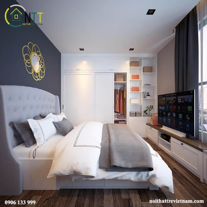 Phòng ngủ sử dụng chủ yếu màu trắng để không gian tươi sáng hơn