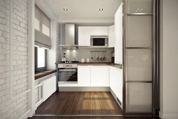 phòng bếp với vách ngăn trượt