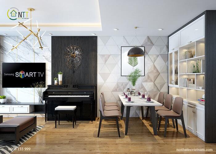 Phòng khách và phòng ăn vẫn là không gian mở