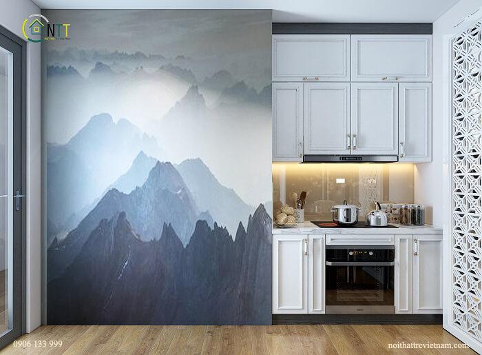 Khu bếp gọn gàng và ngăn nắp, nội thất sử dụng màu trắng sáng vừa sạch đẹp lại sang trọng
