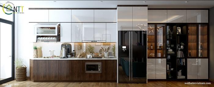 Tủ bếp acrylic bóng gương