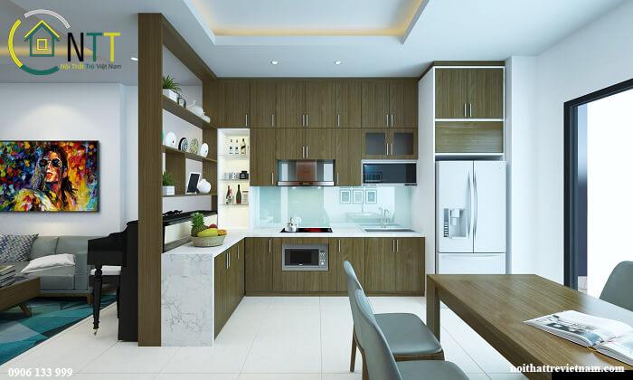 Tủ bếp dưới màu gỗ