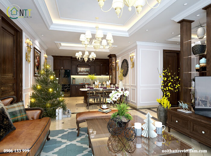 phòng khách và bếp không gian mở