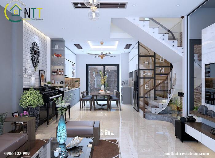 Thiết kế nội thất biệt thự song lập hiện đại cao cấp