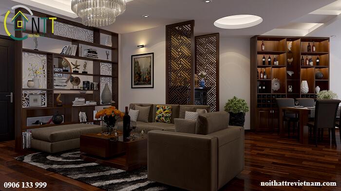 Phòng khách kết hợp bàn thờ đẹp