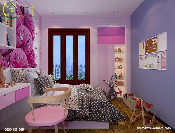 Ý tưởng 11  – Sử dụng giấy gián tường phòng ngủ trẻ em