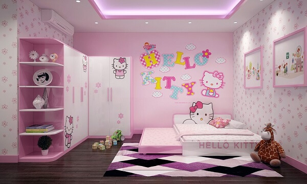 Ý tưởng 12  – Giấy màu hồng cho phòng bé gái