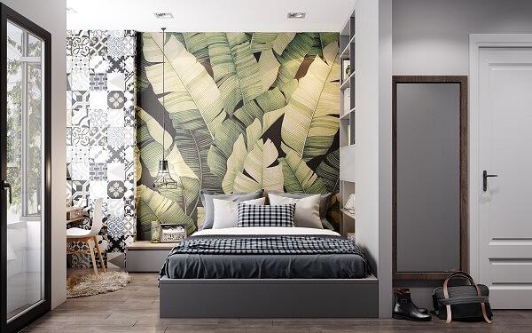 Ý tưởng 15  –  Sử dụng giấy trang trí phòng ngủ đẹp độc đáo