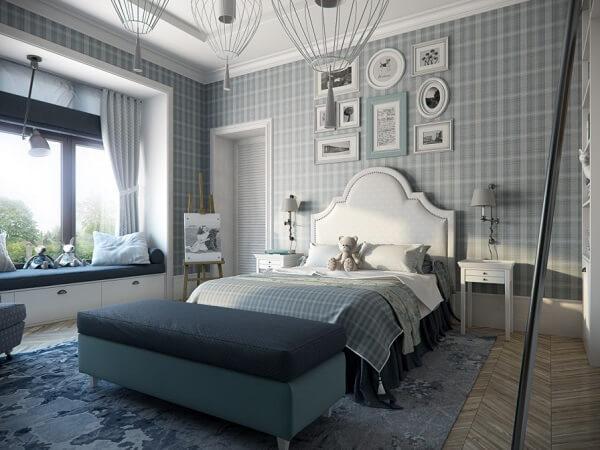 Ý tưởng 16  –  Giấy dán tường trang trí phòng ngủ hiện đại trẻ trung