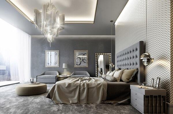 Ý tưởng 17 –  Giấy dán tường trang trí phòng ngủ hiện đại sang trọng