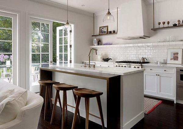 Mẫu 17  – Quầy bar ngăn bếp và phòng khách đẹp