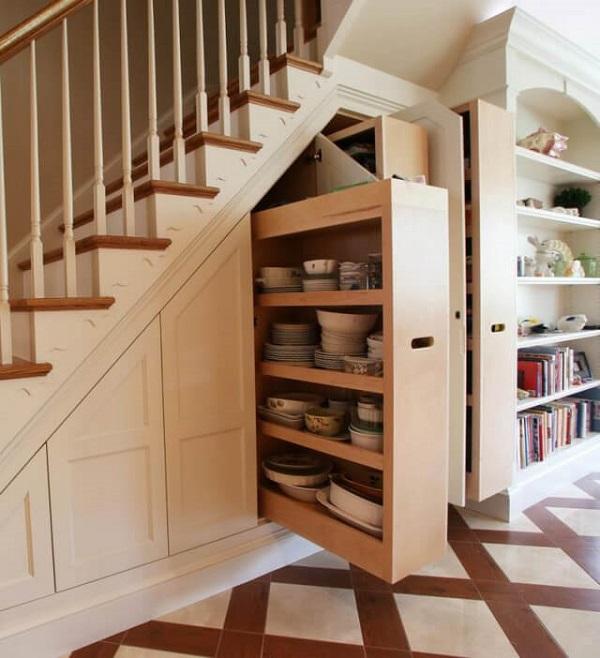 Mẫu 20 - Tủ lưu trữ đồ gầm cầu thang bằng gỗ