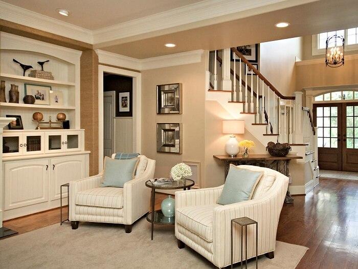 Mẫu 14 là kiểu trang trí phòng khách có cầu thang sang trọng
