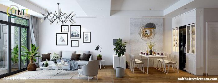Phòng khách liền bếp chung cư
