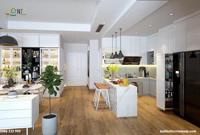 Mẫu phòng khách liền bếp