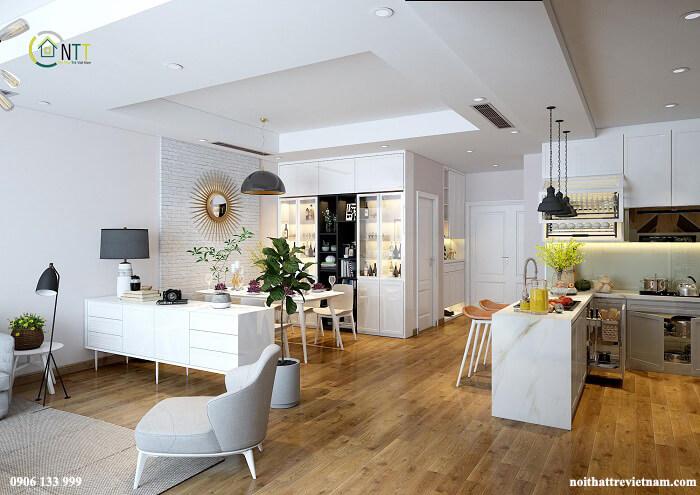 phòng khách không gian mở hiện đại